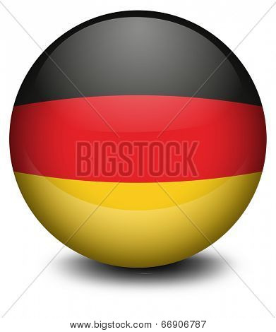 Illustration of a ball with the flag of Germany on a white background