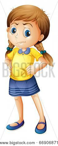 Illustration of an angry little girl on a white background