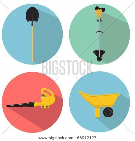 An image of a gardening tools icon set.