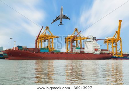 Container Cargo freight ship and plane in shipyard