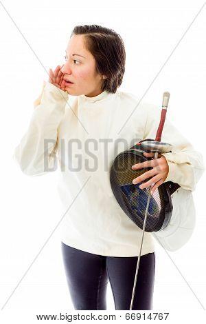 Female fencer whispering