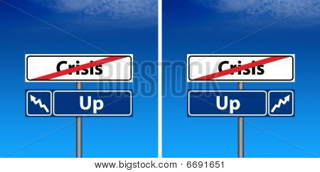 Road Sign The End Of Crisis And Blue Sky