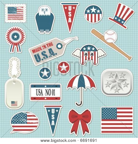 collection of patriotic usa stickers with flags poster