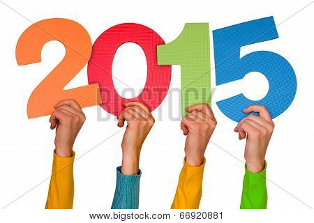 Hands With Color Numbers Shows  Year 2015