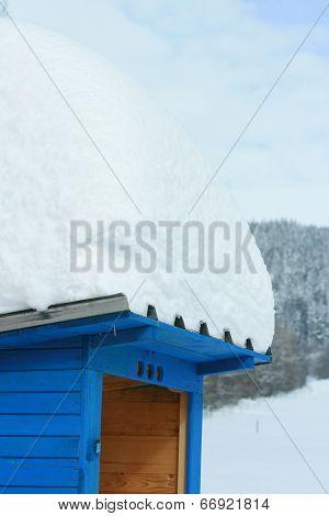 A Lot Of Snow On Blue Dry Closet