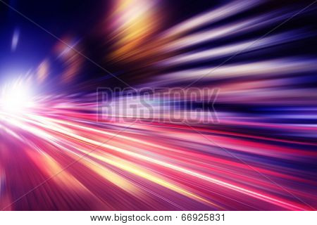Abstract image of speed motion in the city at twilight. poster