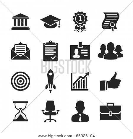 Business career icons. Raster illustration. Simplus series