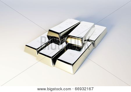 3D Photo Realistic Image Of Silver Bars