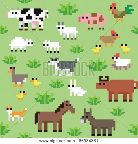 Seamless retro pixel farm animals pattern