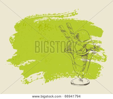 Vanilla ice cream with mint in cup on grunge background.
