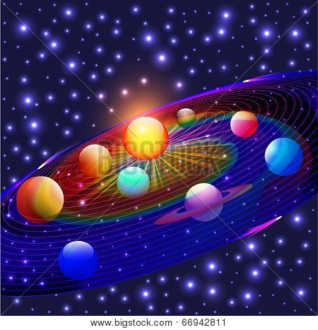 illustration cosmos planets in the solar system poster