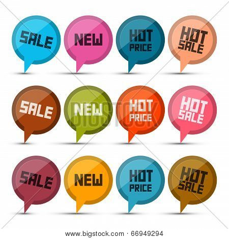 Sale, New, Hot Price Circle Vector Labels - Tags Set Isolated on White Background