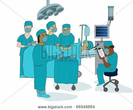 An illustration of a surgeon, anaesthetist, nurse and assistant operating on a patient at the hospital poster