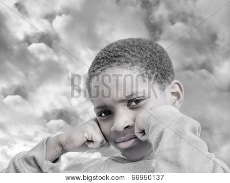 Moody Afro boy, stormy weather, partially monochrome poster