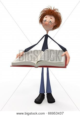 3D Student With A Book