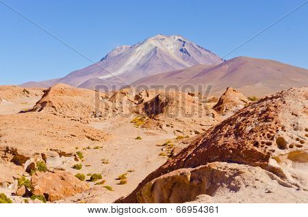 Bolivia, Antiplano - volcano Ollague poster