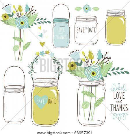 Wedding flower Mason Jar poster