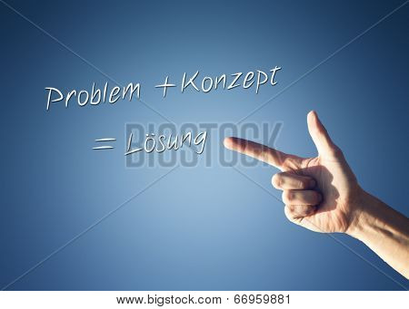 Mans hand pointing to a Problem - Analysis - Solution formula in german language with sequential arrows on a blue background