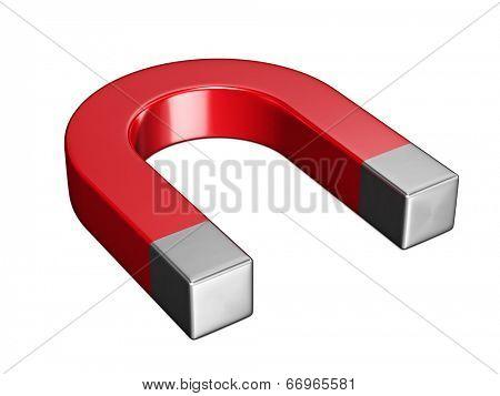 Horseshoe magnet isolated on white background