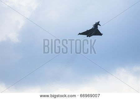 BERLIN, GERMANY - MAY 20, 2014: Multirole twin-engine fighter Eurofighter Typhoon (Germany), demonstration during the International Aerospace Exhibition ILA Berlin Air Show-2014.