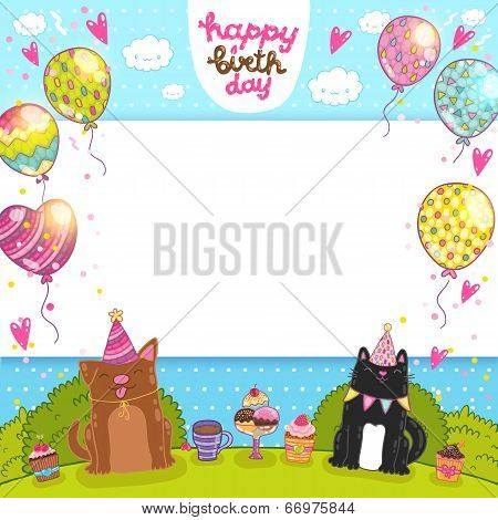 Happy Birthday card with cat, dog and cupcake