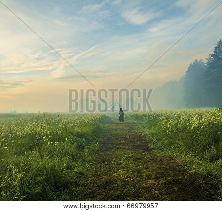 Person walking by path at Dreamy landscape