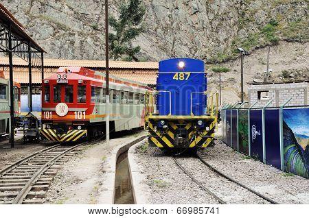 Two diesel locomotives.