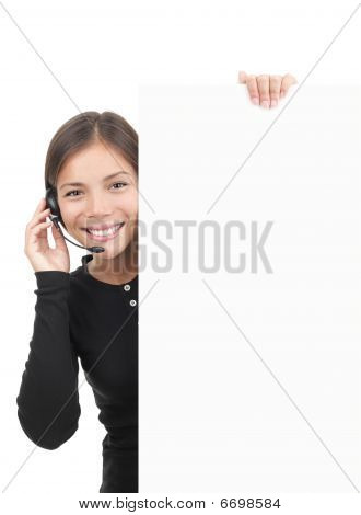 Headset Woman Sign