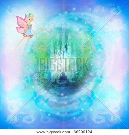 Magic Fairy Tale Princess Castle on abstract background , raster poster