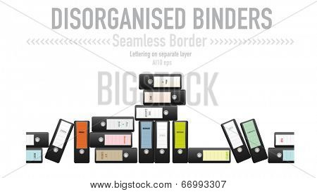 Disorganized ring binders seamless vector border. Seamless border from disorganized black binders with a variety of labels. Lettering on separate layer. AI10 eps vector illustration.