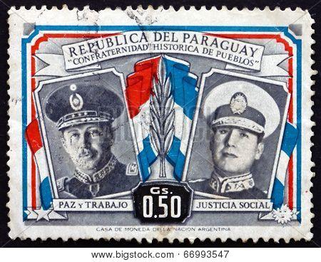 Postage Stamp Paraguay 1955 Alfredo Stroessner, Juan D. Peron