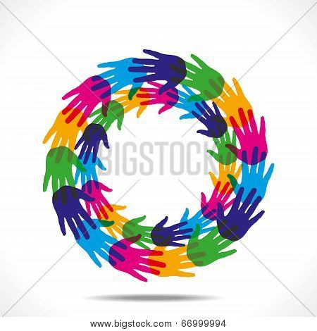 colorful hand round background vector