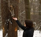 Photo. This is beautiful girl feed squirrel. poster