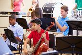 Pupils Playing Musical Instruments In School Orchestra poster