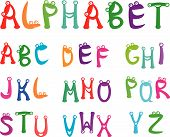 Funny and cartoons animals alphabet for kids poster