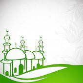 Stylish illustration of a green mosque with floral design decorated grey background on green land, creative concept for holy month of Muslim community Ramadan Kareem.   poster