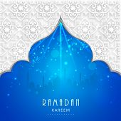 View of mosque in shiny blue night background for holy month of muslim community Ramadan Kareem.  poster