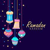 Colorful hanging lanterns on shiny purple background with golden text Ramadan Kareem.  poster