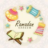 Colorful arabic lanterns with open religious book Quran Shareef on stylish abstract background for holy month of Muslim community Ramadan Kareem.  poster