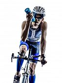 man triathlon iron man athlete biker cyclist bicycling biking in silhouette on white background poster