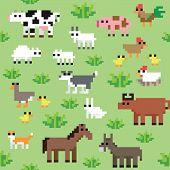 Seamless retro pixel farm animals pattern vector poster