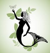 pretty mermaid with butterflies poster
