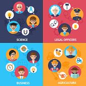 Teamwork people group decorative icons science legal officers business agriculture set flat isolated vector illustration poster