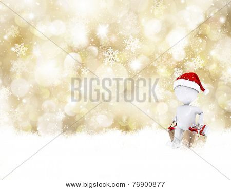 Christmas background with 3D morph man shopping for presents