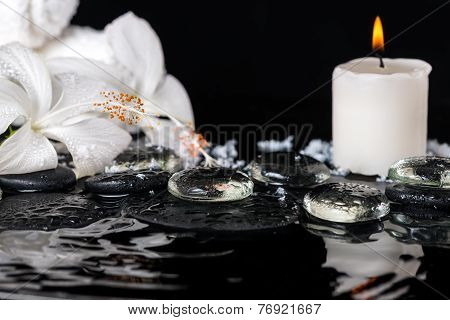 Cryogenic Spa Concept Of Delicate White Hibiscus, Zen Stones With Drops, Snow, Ice, Candles And Towe