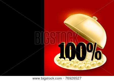 Golden service tray revealing black 100% percents symbol