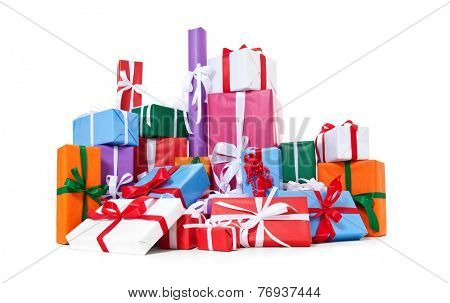 Pile of fine wrapped presents. All on white background.