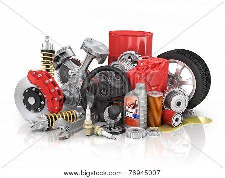 Set Of Parts Of Car. 3D Render