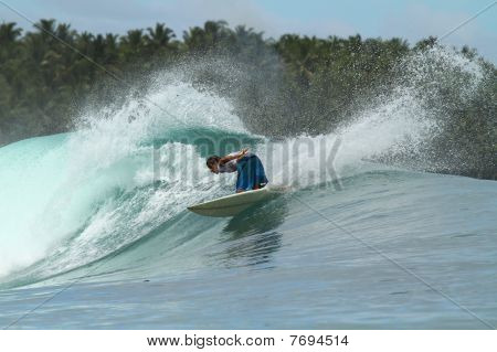 Surfer On Wave, Mentawai Islands, Indonesia