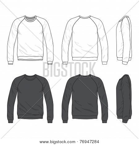 Front, Back And Side Views Of Blank Raglan Long Sleeve Sweatshirt